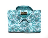 Men's shirt Aqua blue floral shapes block color inside collar, cuffs. Short sleeves. Lightweight VERY light weight 100% cotton