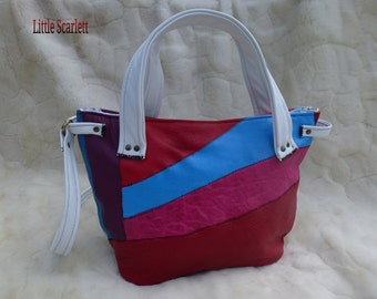 Multicolor leather and White Leather handbag