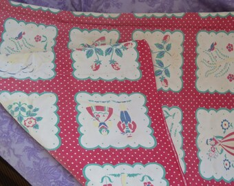Antique Table cloth, Made in  Holland   1950's Red and White
