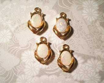 4 Vintage Genuine Opal Pendants
