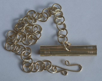 Brass Viking or Anglo Saxon Needle Case with Chain