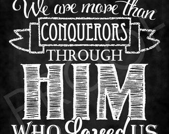Scripture Art - Romans8:37 Chalkboard Style