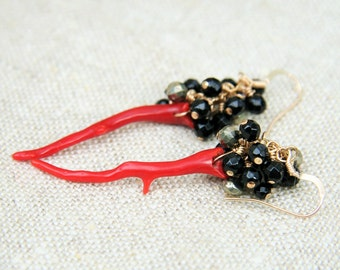 Rich, red coral branches wire wrapped on 14k gf with black onyx and pyrite crown earrings on 14kt gold fill