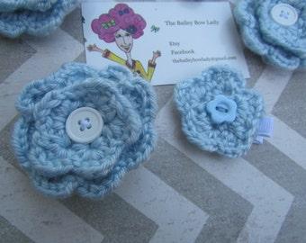 Light Blue Crochet Flower Hair Clip
