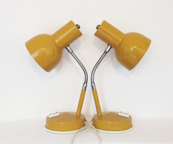 vintage 70s desk lamps mustard enamel italian gooseneck. Black Bedroom Furniture Sets. Home Design Ideas