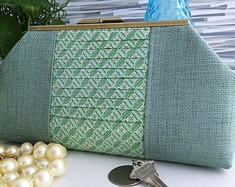 Clutch Seafoam Green Aqua from Vintage Scarf and Linen