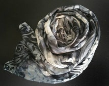 Silk Scarf,Silver,Women's Luxury Scarves,Black,White,Grey,accessories,Art Nouveau,gifts for her,travel ,evening wear,scarves and wraps