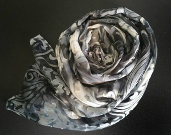 MADE TO ORDER SIlk Women's Luxury Scarves,Black,White,Grey,accessories,Art Nouveau,gifts for her,travel ,evening wear,scarves and wraps