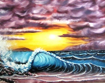 "Seascape - Oil Painting - Blue Wave - Pink Sky - Fantasy Art - 18"" x 24"" x 2"" Canvas - FREE SHIPPING - ""Ocean Fantasy"""