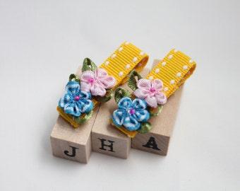 Children hair clip bundle - mixed flowers garden