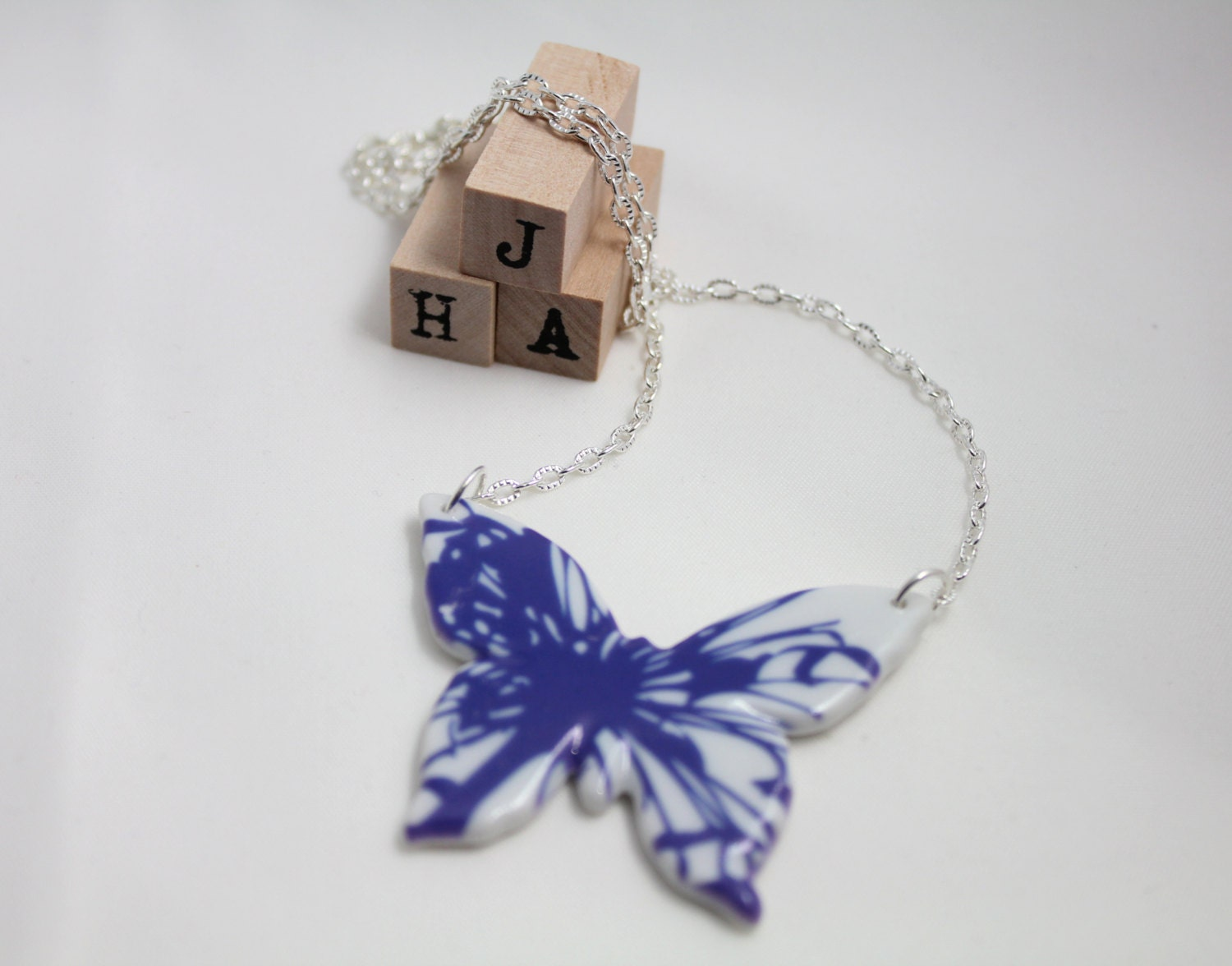 everyday casual ceramic butterfly necklace ink splash