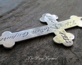 sterling silver plated reproduction nun's cross pendant rosary supply catholic religious french script sacred heart