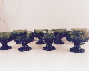 Vintage Tiffin Madiera Franciscan Olive Dessert Compote Footed Glasses Goblets Heavy Glass Avacado Dessert Dishes