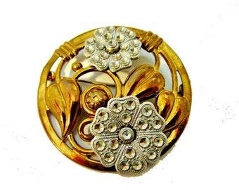 Flower Brooch - Art Deco  - stamped brass - cut silver steel - Floral pin