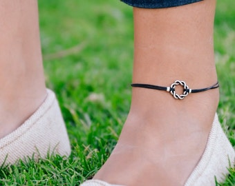 Anklet, silver braided Karma anklet, black ankle bracelet, Birthday gift for her, minimalist jewelry, spiritual, yoga, womens ankle bracelet