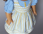 Handmade American Girl doll dress: Swedish colors, yellow and blue, Kirsten