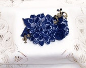 Denim Floral Clip for Lapel or Hair Accessory ... Large Multi-petal Flower with Side Bud and 3 Accent Leaves with Berry Sprigs.