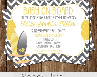 Baby on Board Baby Shower Invitation - Surfer Baby Shower Invite - Yellow Grey Gray
