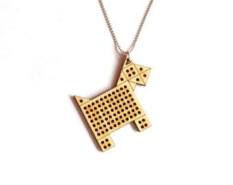 DIY Cross Stitch Necklace - Wood Pendant with Geometric Dog Design