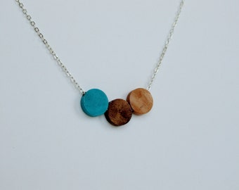 Walnut and Birch Wood Geometric Silver Necklace turquoise. Trending items