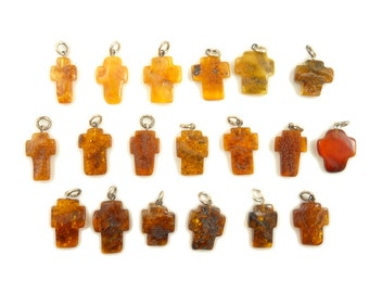 SALE! Hand Carved Amber Baltic CROSS - Yellow - Honey - Cognac - Cherry - size M - 32pcs available