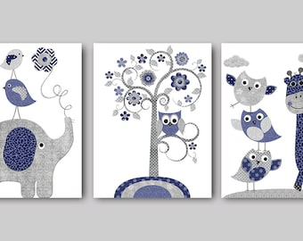 Playroom Art Giraffe Elephant Nursery Decor Baby Boy Nursery Prints Kids Art Kids Room Decor Children Art Print set of 3 Navy Gray