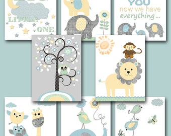 Baby Shower Gift Elephant Nursery Quotes Kids Wall Art Kids Art Baby Boy Nursery Art Baby Room Decor set of 8  Gray Blue Yellow Mint