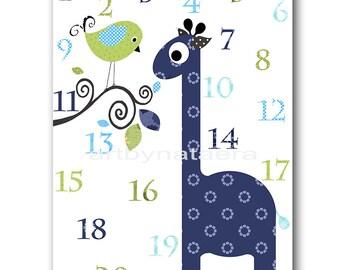 Giraffe Numbers Nursery Numbers Kids Art Giraffe Wall Art Baby Boy Nursery Art Print Childrens Art Print Playroom Decor Navy Blue Green