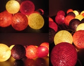 20 Big Cotton Balls Sunset Tone Fairy String Lights Party Patio Wedding Floor Table or Hanging Gift Home Decor Christmas Bedroom