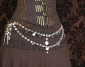 """Steampunk hipchain """"Chandelier"""" A Corset Chain or Shoulder to shoulder brooch. Costume jewellery."""