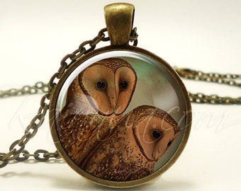 Barn Owl Necklace, Vintage Inspired Nature Jewelry, Bird Pendant (1856B1IN)