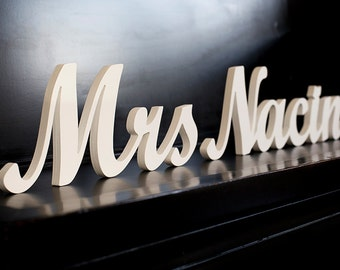 Mr and Mrs last name table signs, personalized with last name, wedding decor, custom colors