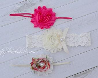 10% OFF Set of 3 shabby rose headband,chiffon flower headband
