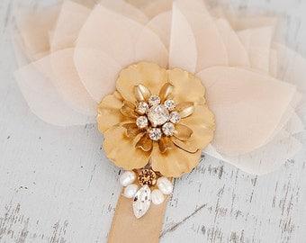 Gold bridal headpiece, organza headpiece, crystal headpiece, champagne organza petals and swarovski crystal adorned satin headband