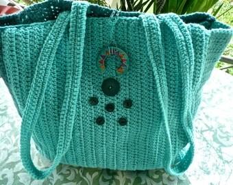 Vintage Purse - Over the Shoulder Satchel  - Hippie Bag - Crocheted Knitting Bag - Teal Boho Bag- Two Strap Library Bag -Large Rommy Tote -