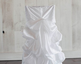 White Ruched Bridal Dress Chair Covers