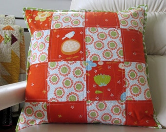 Pillow Cover Porch, Livingroom, Nursery Patchwork Pillow Orange Quilted Floral 18x18 Cushion Cover Removable