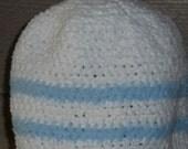 White Chenille Crochet Beanie Hat Blue Stripe Small