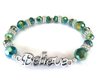 Believe Bracelet, Emerald Bracelet, Green Bracelet, Affirmation Jewelry, Word Bracelet