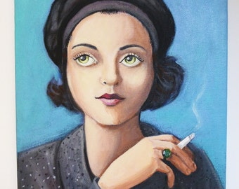 Corinne, an original painting of a 1930's artist holding a cigarette.