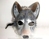 Handmade Leather Timber Wolf Mask, Animal Mask, Wolf Costume, LARP Garb, Theater Prop