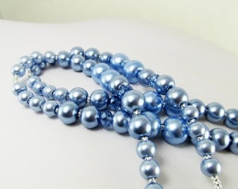 Blue Beaded Lanyard Czech Glass Pearls LQexpressions