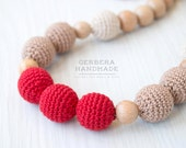 Red Beige Nursing necklace/ Teething necklace/ Nursing necklace/Babywearing necklace/ Baby Nursing necklace/ Chew necklace