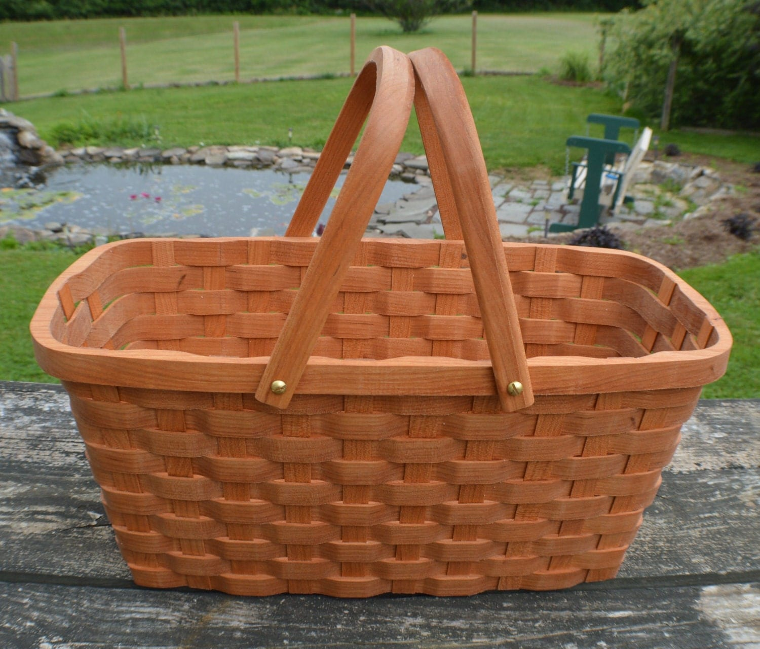 Knitting Basket With Handles : Knitting supplies tote basket with handles cherry wood