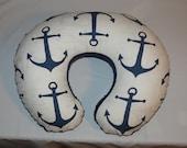 Boppy Cover, Boppy slipcover,Nursing pillow cover, boppy pillow cover  Anchor Navy,Grey,  Minky