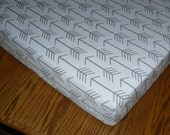 Cotton Crib  Fitted Sheet, grey arrows on white,  or white arrow on grey, changing pad, or boppy cover
