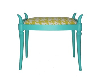 Vintage Refurbished Horn Foot Stool Turquoise Yellow Houndstooth