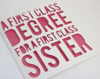 Graduate card / First class degree / Congratulations Personalised Papercut Card