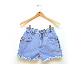 80s High Waisted Light Frayed Cut Off Blue Denim Jean Shorts Womens 25""