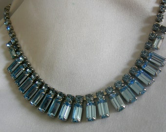 Prong Set Blue Baguette Cut Rhinestone Necklace | Vintage